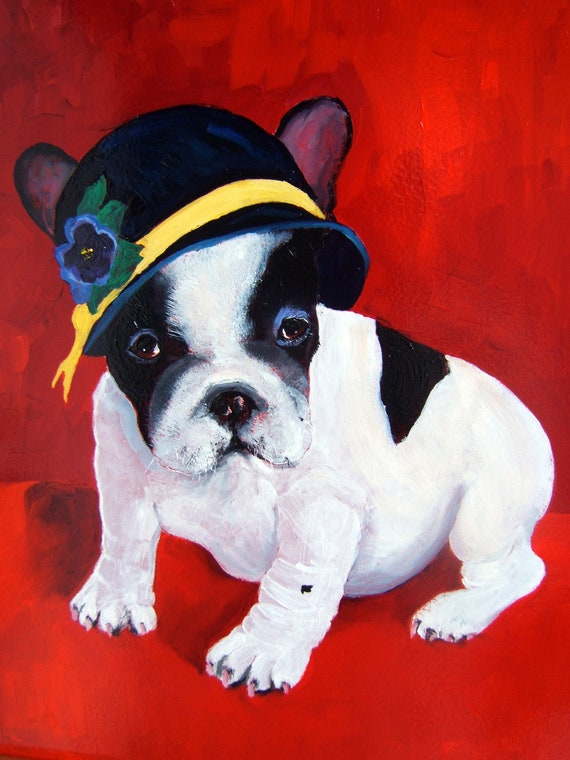 French bulldog oil painting