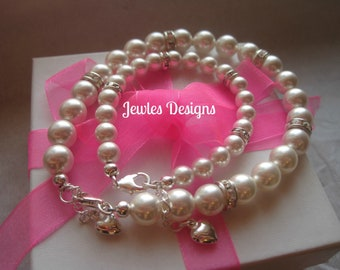 Mommy and Me bracelet, Swarovski White Pearl Classic,  infant jewelry, Baptism, Mothers day gift, baby shower gift
