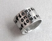 Alice in Wonderland Ring - Curiouser and Curiouser - Hand Stamped Aluminum