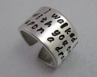 Once Upon a Dream- Hand Stamped Aluminum Ring - Customizable
