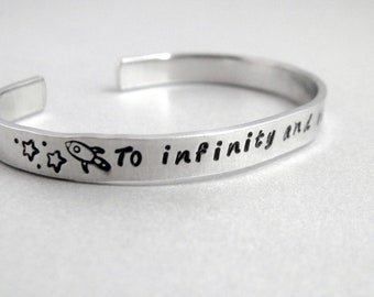 Personalized Bracelet - To Infinity and Beyond - Hand Stamped Cuff in Aluminum, Golden Brass or Sterling Silver  - customizable