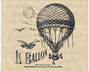 French Balloon Birds Carte Postale ephemera instant clip art digital for iron on transfer to fabric burlap tote pillow decoupage art No. 303