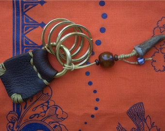 Rustic Leather Key Fob with Old Baltic Amber Bead