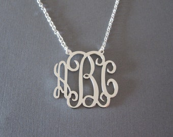 White Gold Monogram Necklace - 3 different pendant sizes