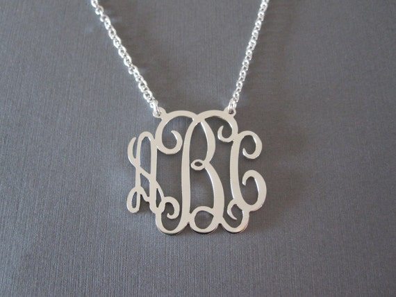Personalized white gold monogram necklace 3 pendant sizes like this item mozeypictures Image collections