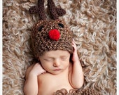 Peas and Quiet Classic Rudolph the Red Nosed Reindeer Hat Christmas Holiday Photography Prop available in Newborn, 0-3, 3-6, and 6-12 months