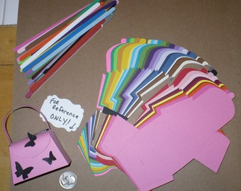 38 Rainbow Cardstock Petite Purse Die Cut pieces made using Stampin Up die You Make / Fold yourself