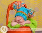"""Happy Newborn Baby Boy Pom Pom Hat Done in bright turqoise, orange and lime with Big """"Puffs"""""""
