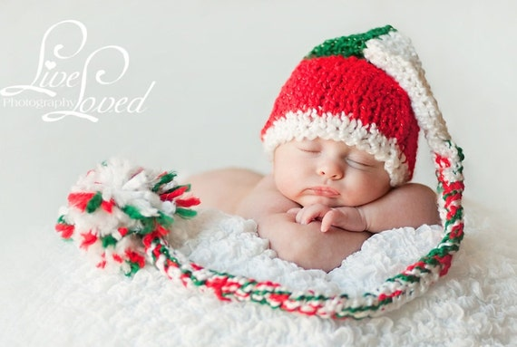Christmas Baby Hat - Red, Green and White Holiday Santa Stocking Hat with Long Tail and Big Fluffy Pom Pom