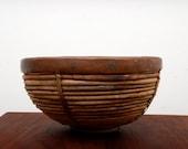 Mid Century Modern Weave Brass trip Basket Mexican Modernist