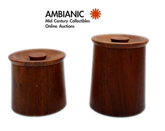 Gladmark Sun Valley Calif Walnut Canisters with Matching Lid Mid Century Mod