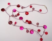 Pink Necklace in Jade and Mother of Pearl on waxed cotton