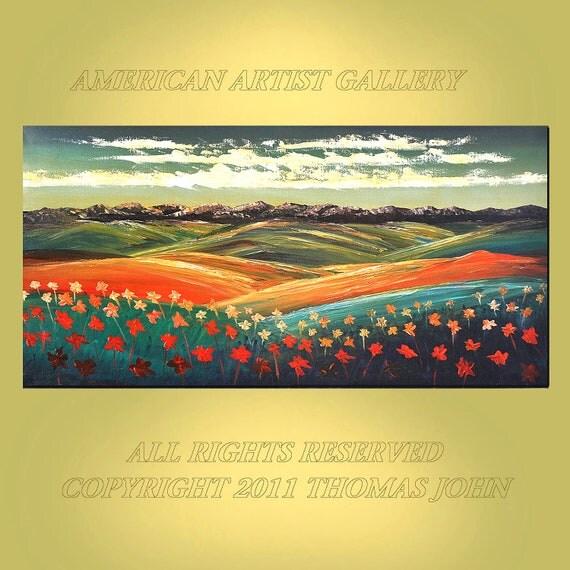 ORIGINAL PAINTING Impressionism Landscape Floral Textured  Impasto 24x48 By Thomas John