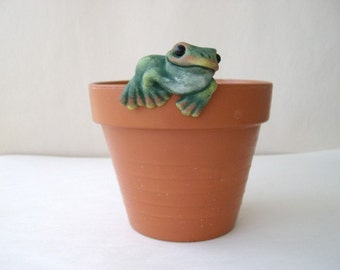 Ceramic flower pot decoration, flower pot hanger, frog