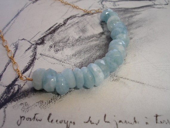Aquamarine Gold Fill Necklace, Faceted Rondelles, Natural, Modern, Organic