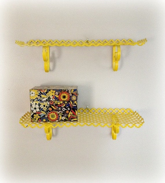 Wall Shelves Yellow Punched Metal