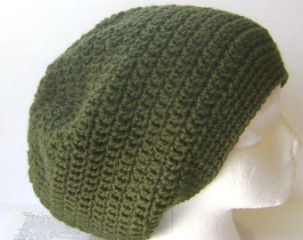 Olive Green Crochet Hat, Slouchy Beanie Hat, Slouchy Beret, Hand Crocheted Ready to Ship