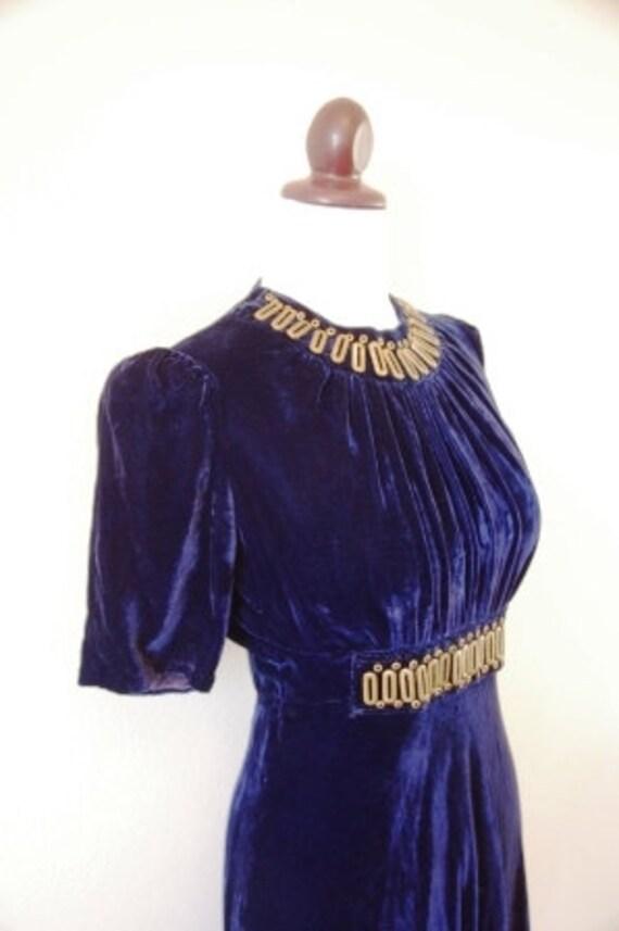 Reserved Vintage 1930s Art Deco Blue Velvet and Brass Dress