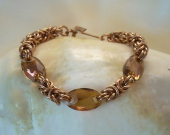 Copper Byzantine and Swarovski Crystal Bracelet as Seen in Bead&Button Magazine