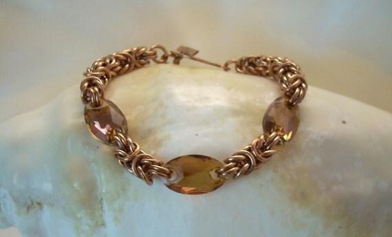 Copper Byzantine and Swarovski Crystal Bracelet as Seen in Bead&Button Magazine