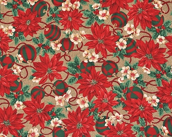 Christmas Fabric Red Poinsettia on Shiny Gold Background VIP Print Cranston Print Works Co.100% Cotton 1 Yard.