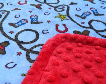 Minky Blanket Blue Cowboy Print with Red Dimple Dot Minky Blanket