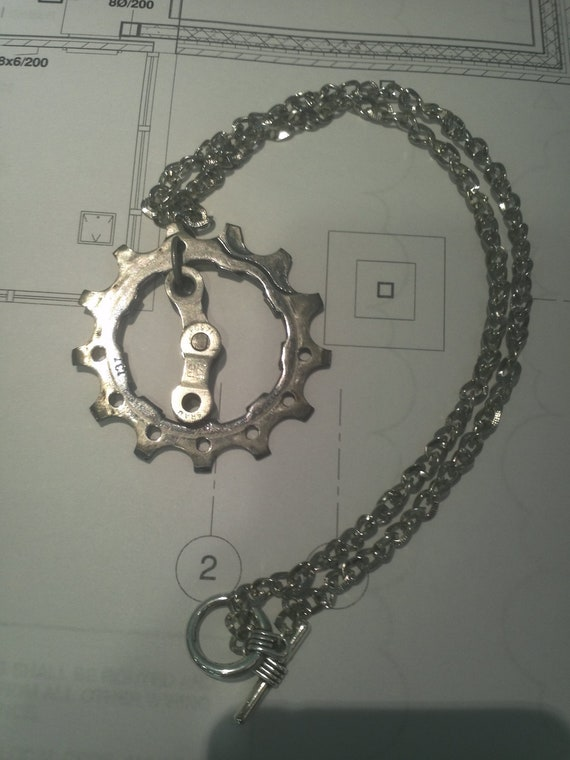 Unisex Bicycle Cog and Chain Necklace- reclaimed bicycle parts