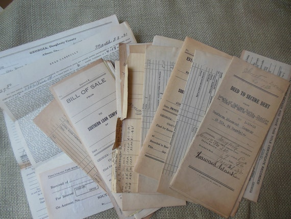 Stack of Vintage Bill of Sales and Etc.