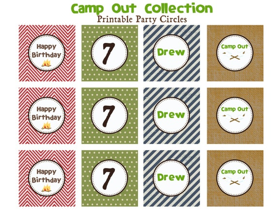 CAMP OUT BIRTHDAY - Printable Party Circles - Libby Lane Press