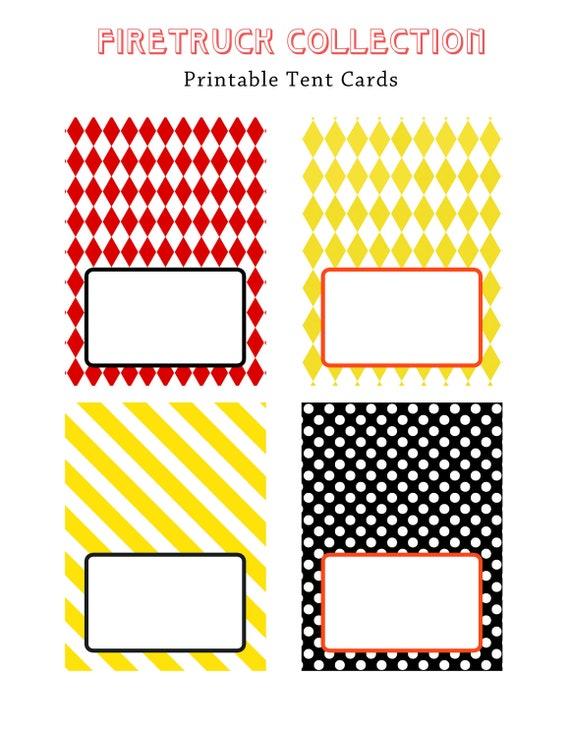 FIRE TRUCK BIRTHDAY - Printable Blank Tent Cards - Libby Lane Press