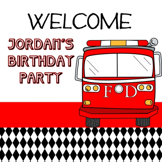 FIRE TRUCK Birthday - Printable WELCOME Sign - Libby Lane Press