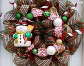 Red/Green Striped  Whimsical Snowman Mesh Wreath