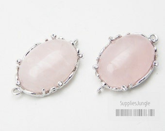 30% SALE// F111-S-RQ// Silver plated Framed Rose Quartz Stone Connector, 1Pc