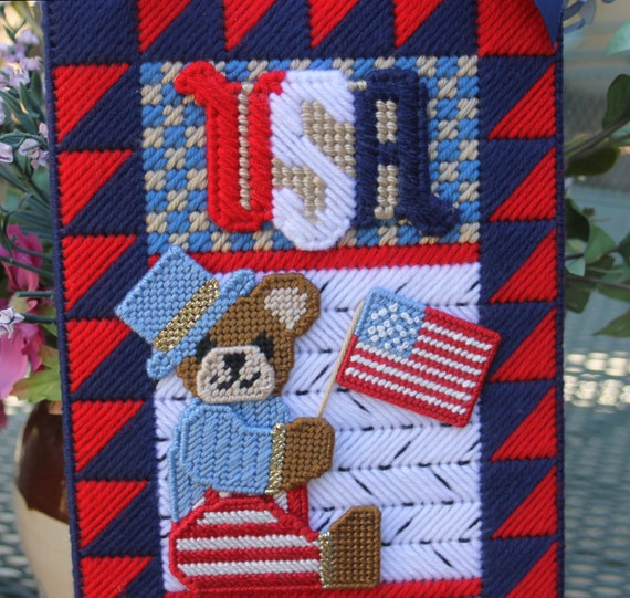 SALE  Patriotic Bear Wall Hanging - yarn & perle cotton on plastic canvas - (shipping included)