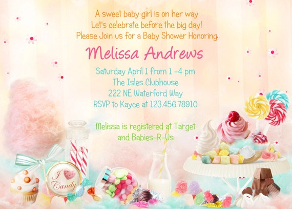 Candy Theme Baby Shower Invitation - Sweet 16 Printable and Custom Invite