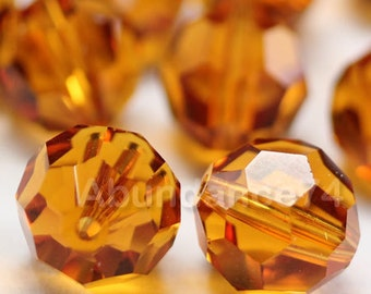 Swarovski Elements Crystal Beads 5000 Round Ball Beads TOPAZ - Available in 6mm ,8mm and 10mm