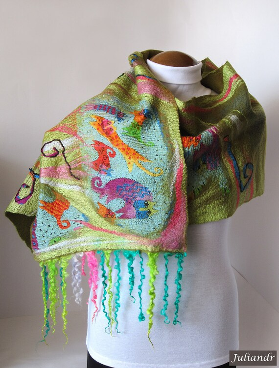"""The March cats"""" large scarf, fun colorful bright multicolor nunofelted shawl with extra long fleece locks, unique one-of-a-kind OOAK"""