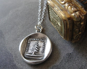 Wax Seal Necklace with leaning fir tree - Unique - antique wax seal charm jewelry by RQP Studio