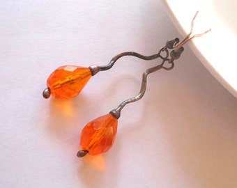 Copper wire earrings, contemporary jewelry, bohemian jewelry, orange beaded, gift for girlfriend, metalwork, artistic jewelry, Orange