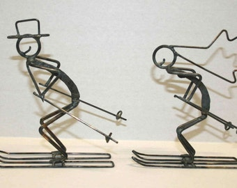 Bride and Groom Skiers Cake Topper