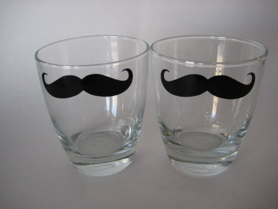 Mustache bar /cocktail glasses / cup with decal set of 2 Wedding gift