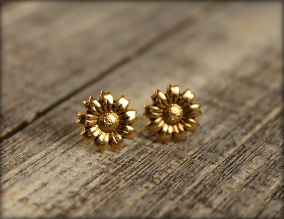 Sunflower Earring Posts in Antique Gold