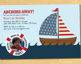 Nautical Birthday Invitation with Photo