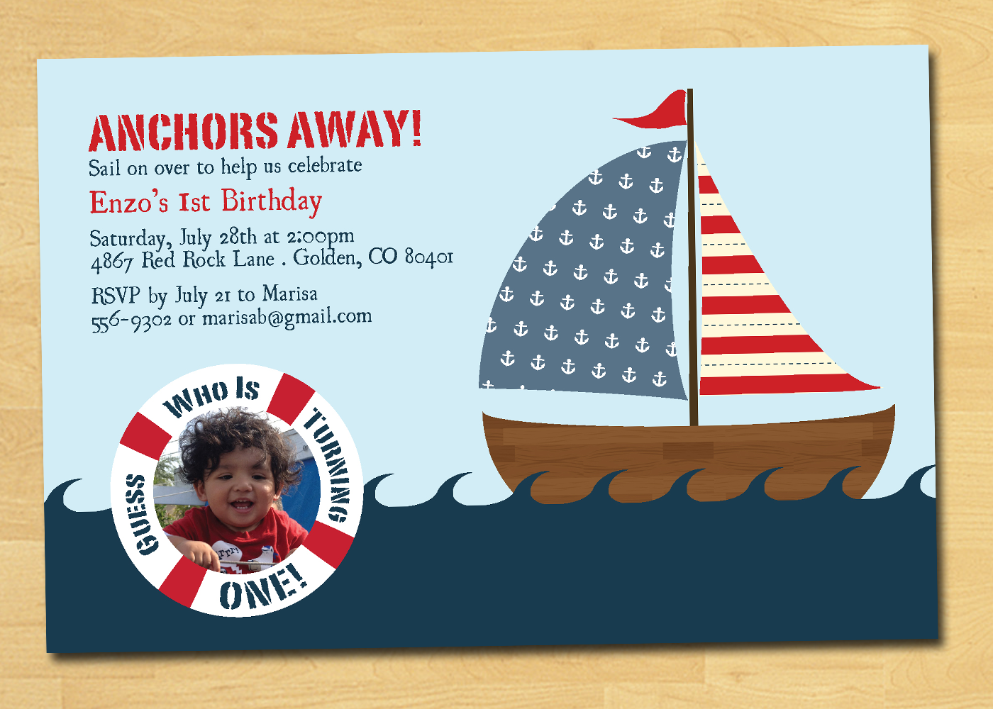 Nautical Birthday Invitation with Photo by thepaperplume ...
