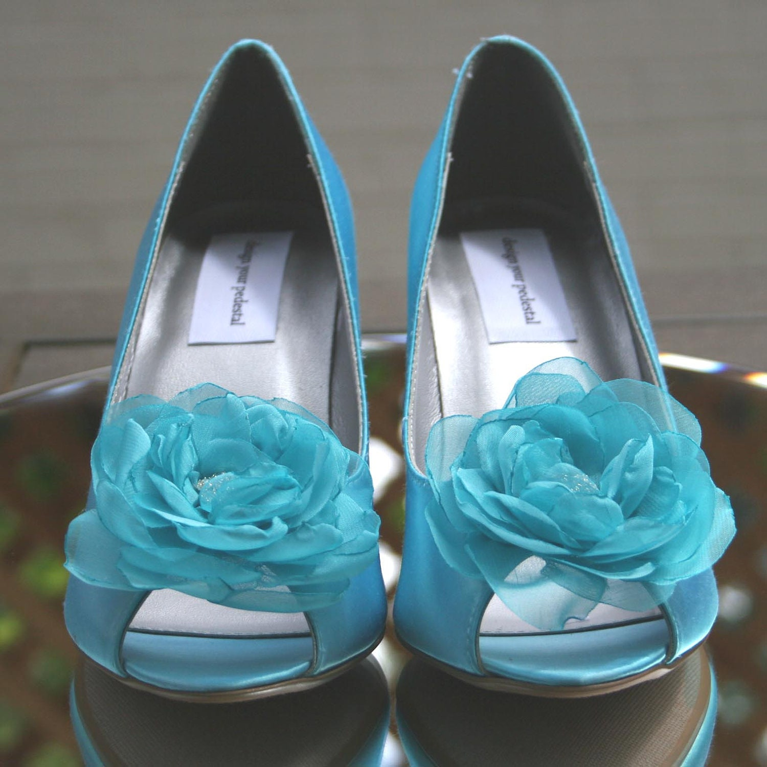 Items Similar To Wedding Shoe Clips -- Pool Blue Flower