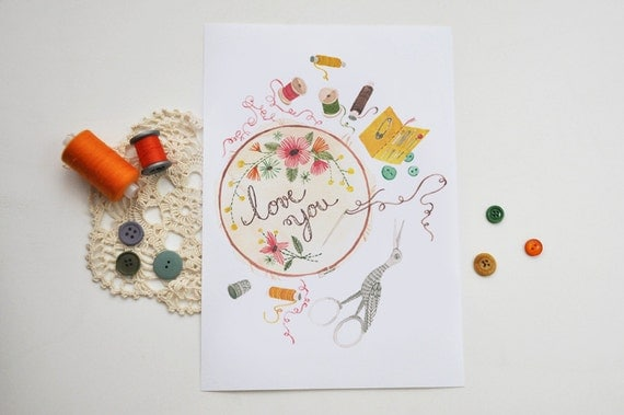 Sewn love note / art print