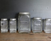 Art Deco Kitchen Canisters, Set of 5