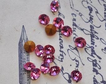 12 Vintage Rose Swarovski crystals, 32 SS