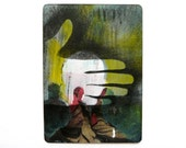 ACEO: street art painting  --  red, chartreuse, acid yellow  --  unique altered newspaper,  hand silhouette art, urban war, soldier