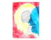 silhouette painting, neon art, paintings, illustration, canvas, ink art, surreal, abstract